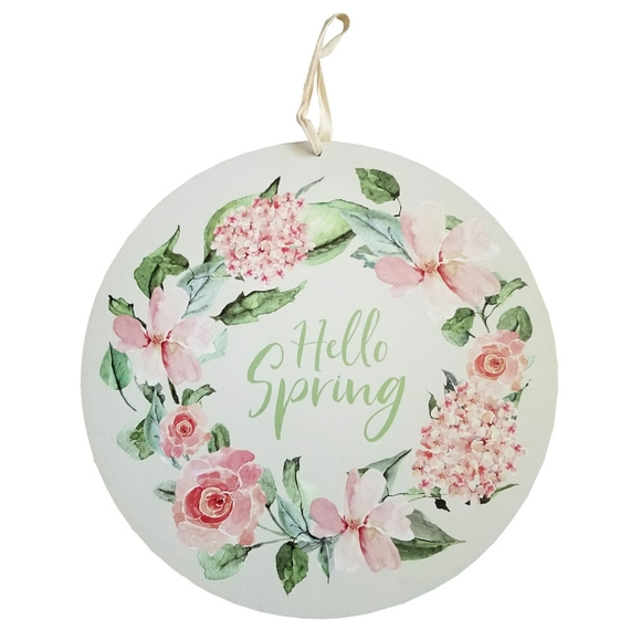 Three Girls & a Wish Other - 🆕Three Girls & a Wish Hello Spring Round Sign